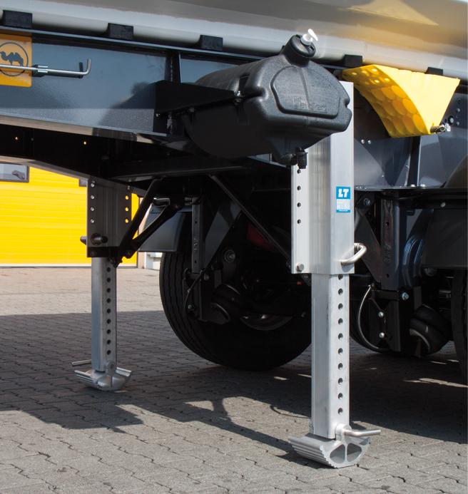 <p>1 lub 2 nogi podporowe: zrzutowe lub mechaniczne, aluminiowe lub stalowe</p>